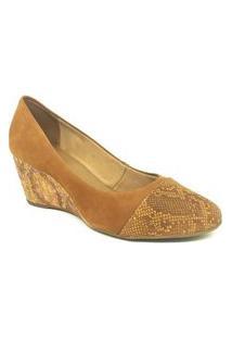 Sapato Anabela Bottero Nobuck Conhaque 253204 Marrom