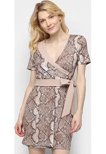Vestido Lança Perfume Curto Transpassado - Feminino-Marrom