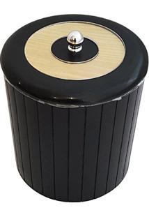 Cesto Lixo 5L Banheiro Tampa Decorativa Lixeira Higiênica Preta