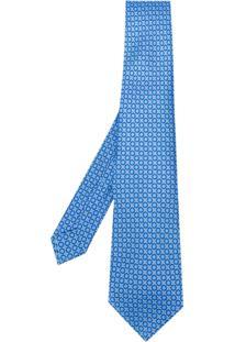 Kiton Gravata Com Estampa De Poás - Azul
