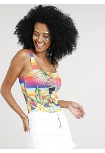 Body Feminino Carnaval Estampado Arco Íris Com Flores E Frutas Multicor