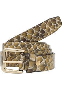 Cinto Corazzi Leather Deluxe Animal Print Snake Couro Verniz Amarelo