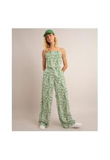 Calça Wide Leg Pantalona De Viscose Cintura Super Alta Estampada Animal Print Zebra Verde