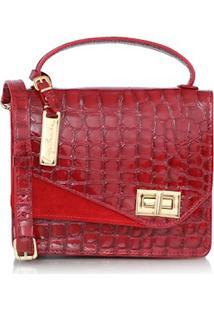Bolsa Pequena Em Couro Croco E Camurça Vermelha