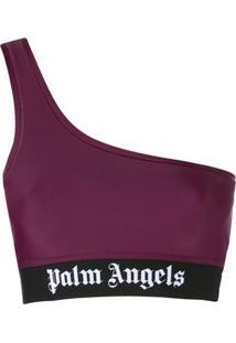 Palm Angels Blusa Cropped Com Detalhe No Ombro - Vermelho
