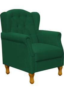 Poltrona Decorativa Para Sala De Estar Lyam Decor Yara Suede Verde Musgo
