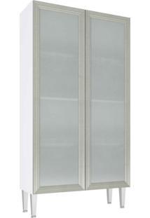 Cristaleira 2 Porta Vidro Mia Coccina 80X149 Branco Com Nude