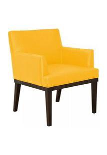 Poltrona Decorativa Vitória Sala E Recepçáo Corino Amarelo - Ds Móveis