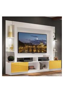 "Rack Estante Tv 65"" Com Leds Berlim Multimóveis Branco/Amarelo"