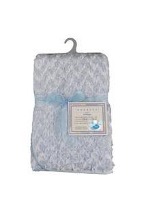Cobertor Para Bebê Peludinho De Florzinha 1,50M X 1,00M Com Cabide Petit Baby - Azul
