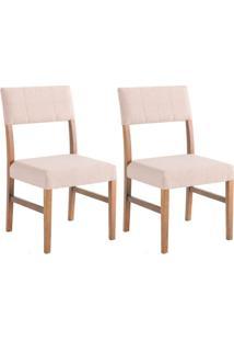 Conjunto Com 2 Cadeiras De Jantar Anne Bege E Imbuia