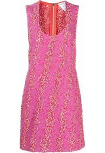 Bottega Veneta Vestido Reto Com Bordado - Rosa