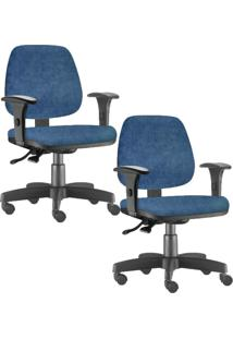 Kit Cadeiras Giratória Lyam Decor Job Azul