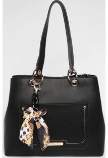 Bolsa Com Bag Charm - Preta - 27X33X14Cmloucos E Santos