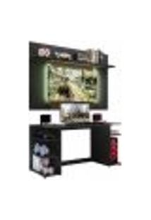 """Mesa Gamer Com Painel E Suporte Tv 55"""" Guilda Plus Multimóveis Preto/Madeirado"""