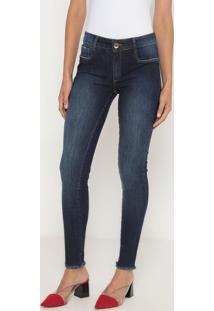 Jeans Skinny Low Desfiado- Azul Escuro- Lança Perfumlança Perfume