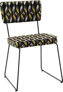 Cadeira Roma Aço Tecido Daf Colorido Preto