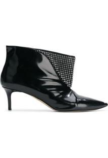 Christopher Kane Ankle Boot De Couro Com Aplicações - Preto