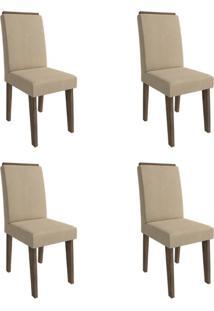 Conjunto Com 4 Cadeiras De Jantar Milena Suede Marrocos E Caramelo