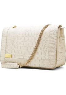 Bolsa Hendy Bag Estampa Crocô Com Alça De Correntes - Feminino