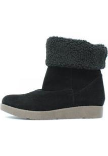 Bota Cindy Forrada Com Pelos Damannu Shoes Feminina - Feminino-Preto