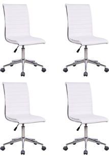 Conjunto Com 4 Cadeiras De Escritório Diretor Giratórias Marilyn Branco
