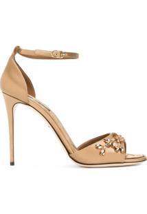 Dolce & Gabbana Sandália Com Aplicações - Neutro
