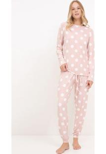 Pijama Manga Longa Poá