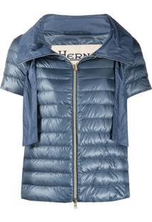 Herno Short-Sleeved Funnel-Neck Puffer Jacket - Azul
