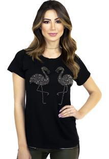 T-Shirt Cavallari Flamingo Onix Bordada A Mão Preta