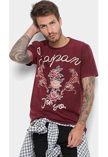 Camiseta All Free Lavada Estampa Japan Masculina - Masculino-Bordô