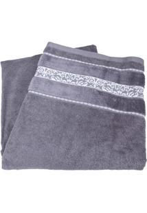 Toalhão De Banho Teka - Cinza Com Barra Decorada Arabescos