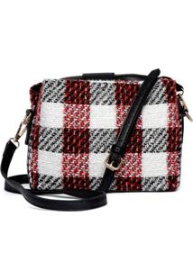 Bolsa Mini Bag Feminina Tweed Xadrez Tiracolo Fashion - Kanui