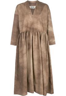 Uma Wang Pleated Shift Dress - Marrom