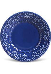 Prato Sobremesa Esparta Cerâmica 6 Peças Azul Navy Porto Brasil