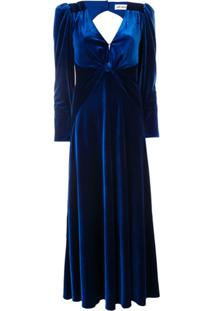 Self-Portrait Vestido Longo Com Decote Em V - Azul