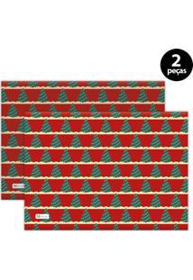 Jogo Americano Mdecore Natal Arvore De Natal 40X28 Cm Vermelho 2Pçs