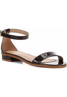 Sandália Shoestock Flat Tira Naked Feminina - Feminino-Cacau