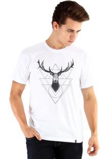 Camiseta Ouroboros Cervo Geométrico Branco