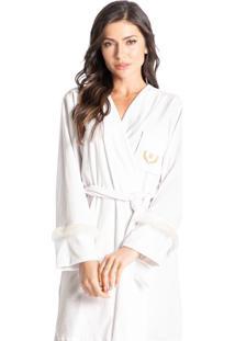 Robe Em Plush Com Pelo Elegância