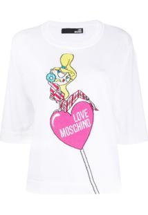 Love Moschino Suéter De Tricô Com Logo - Branco
