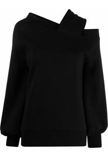 Atu Body Couture Suéter Ombro Único Com Alça Em Matelassê - Preto