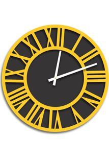Relógio De Parede Premium Preto Ônix Com Números Romanos Em Relevo Amarelo 50Cm Grande