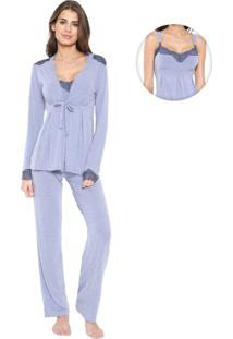Pijama Any Any Amamentação Leandra Azul