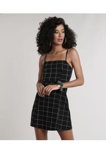 Vestido Feminino Curto Estampado Quadriculado Alças Finas Decote Reto Preto
