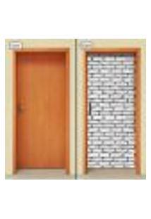 Adesivo Decorativo De Porta - Tijolos Branco - 1461Cnpt