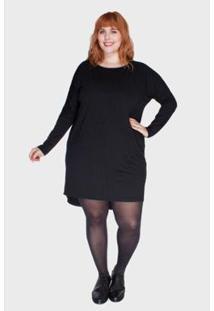 Vestido Bold Mullet Plus Size Feminino - Feminino-Preto