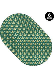 Capa Para Sousplat Mdecore Natal Pinheiros Verde 6Pçs