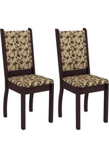 Conjunto Com 2 Cadeiras Viena Linho Tabaco E Floral Bege