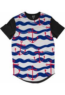 Camiseta Longline Long Beach Náutica Âncora Vermelha Sublimada Azul